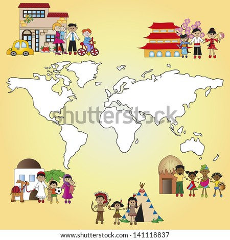illustration of different family around the world - stock photo