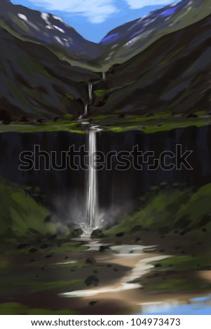 illustration of digital painting of waterfall in natural landscape - stock photo