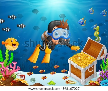 illustration of diver under the sea - stock photo
