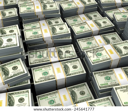 illustration of dollars stack over white background - stock photo