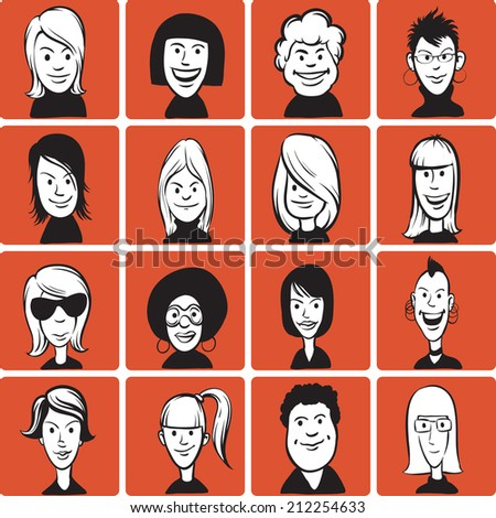 illustration of doodle woman cartoon faces - stock photo