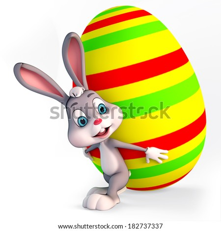 Illustration of Easter Bunny with big colorful egg - stock photo