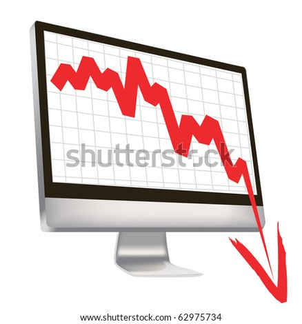 illustration of economic crisis, with red arrow break outs of computer monitor. - stock photo