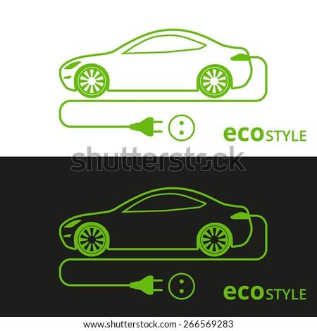 illustration of electro car green icon on white and black background - stock photo