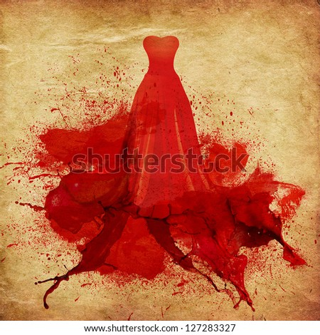 Illustration of elegant red dress melting in paint on vintage paper background. - stock photo