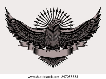 Illustration of emblem with eagle and arrows. Black and white style. - stock photo