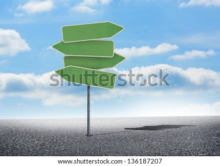Illustration of empty signposts with bright blue sky - stock photo