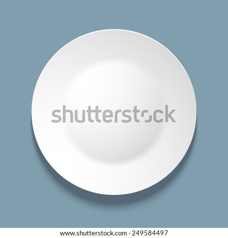 illustration of empty white plate. top view. on blue background. - stock photo