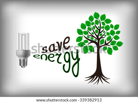 Illustration of energy saving light bulb with green tree - stock photo
