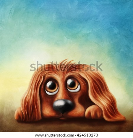 Illustration of english cocker spaniel - stock photo
