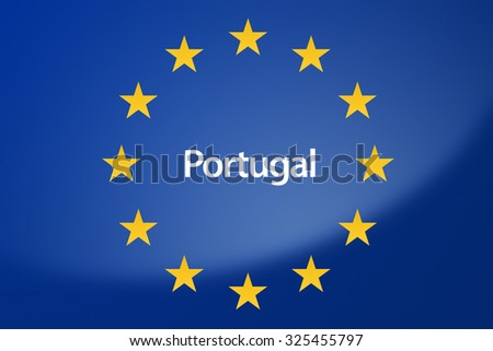 Illustration of European Union flag - labeled with Portugal in portuguese language - stock photo