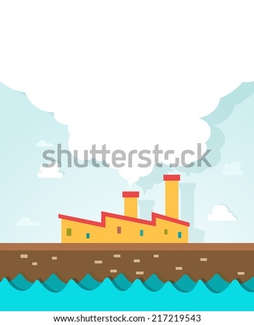 illustration of factory near river paper EPS vector version id 189453353.format also available in my portfolio - stock photo