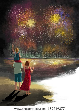 Illustration of family watching fire works - stock photo