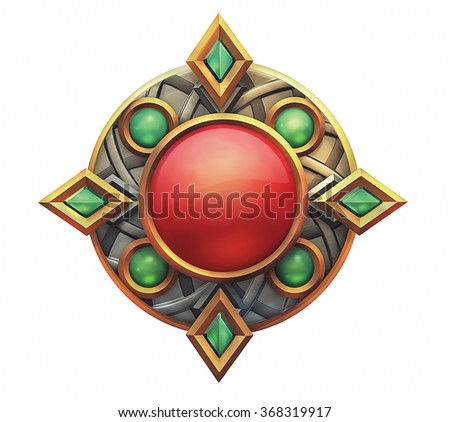 Illustration of fantasy emblem with red and green gems - stock photo