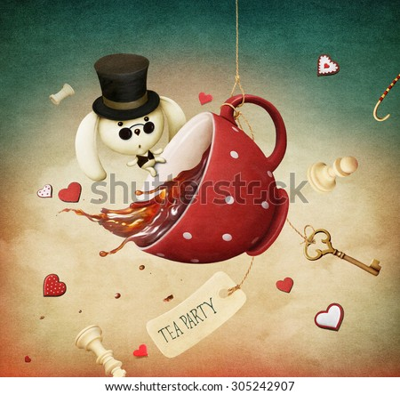 Illustration of fantasy with red cup of tea and  rabbit - stock photo
