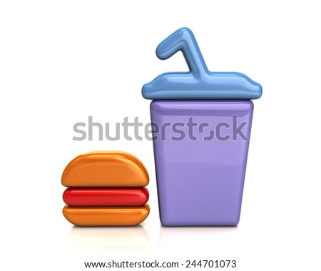 Illustration of fast food - stock photo