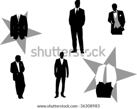 Illustration of fictitious business men in tuxedos, good for any design. - stock photo