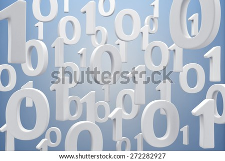 Illustration of figures a binary code in air - stock photo