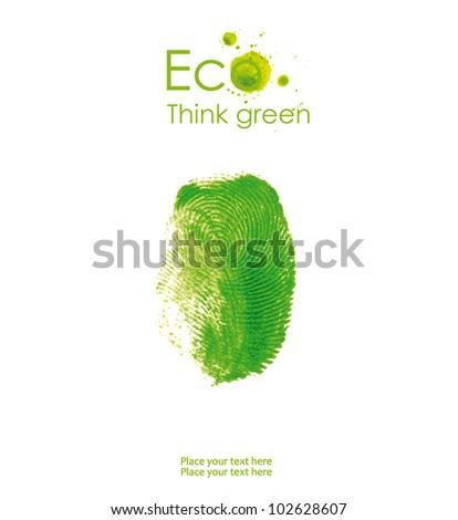 Illustration of fingerprint, isolated on white background. Think Green. Ecology Concept. - stock photo