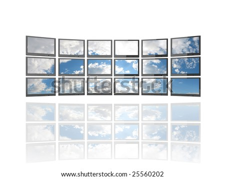 Illustration of 18 flat screen TV's showing image of a sky with clouds. Isolated on white with reflection. - stock photo