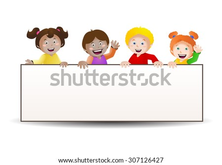 illustration of four cute children holding a blank banner isolated on white background - stock photo