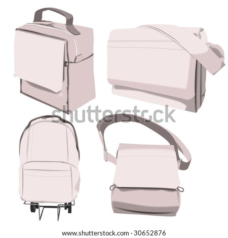 Illustration of four different bags for school or leisure - stock photo