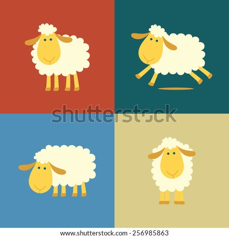Illustration of four sheep in flat color style - stock photo