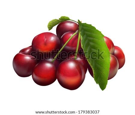 Illustration of fresh cherries isolated on white - stock photo