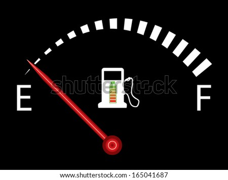 Illustration of fuel gauge on black background with battery. Abstract fuel gauge with red indicator, indicating near empty. Isolated, easy to edit illustration. Vector image available in my portfolio. - stock photo