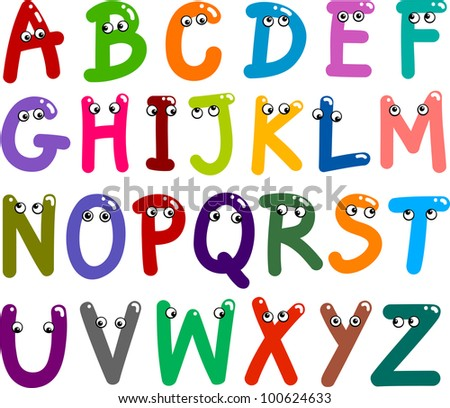 illustration of funny Capital Letters Alphabet for education - stock photo