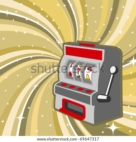illustration of gambling machine on the beautiful shiny background - stock photo