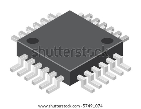 Illustration of generic computer microchip. Vector version is available. - stock photo