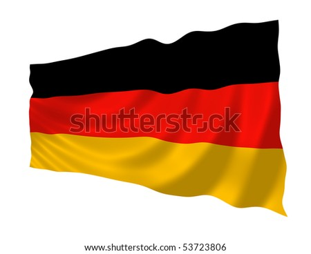 Illustration of Germany flag waving in the wind - stock photo