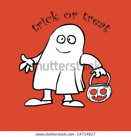 Illustration of ghost trick or treating on halloween - stock photo