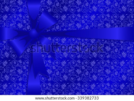 Illustration of gift wrapping in blue colors - stock photo