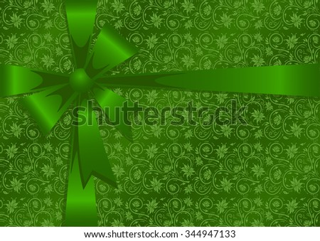 Illustration of gift wrapping in green colors - stock photo