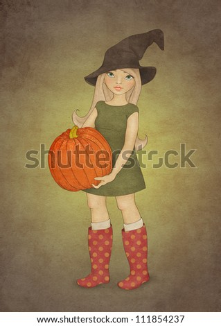 Illustration of girl in Halloween hat, dressed as a witch and with pumpkin on paper background. Halloween party invitation template - stock photo