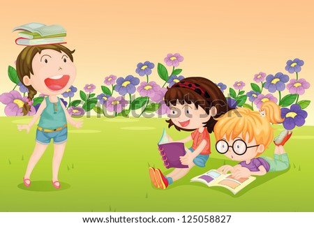 Illustration of girls reading books in a beautiful nature - stock photo