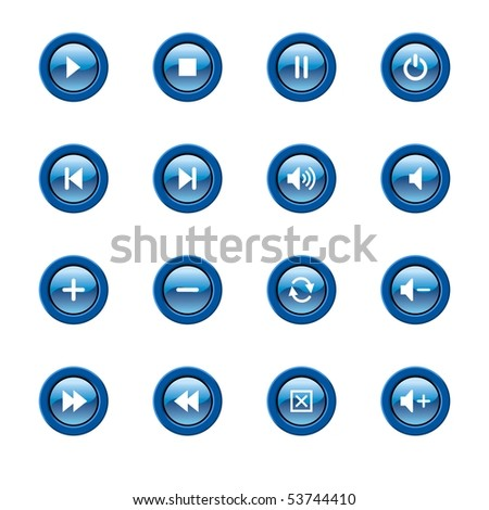 illustration of glossy media player icons and symbols - stock photo