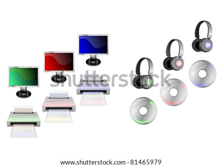 illustration of glossy technological gadgets icons:  Display, head - phones, printer and disc - stock photo
