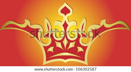 Illustration  of gold crown, isolated on red background - stock photo