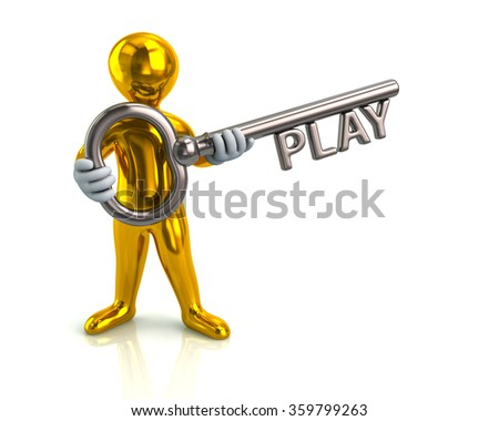 Illustration of golden man and silver key with word play - stock photo