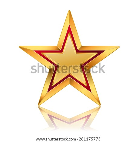 illustration of golden star with red frame - stock photo