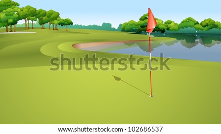 Illustration of golf hole from green - EPS VECTOR format also available in my portfolio. - stock photo