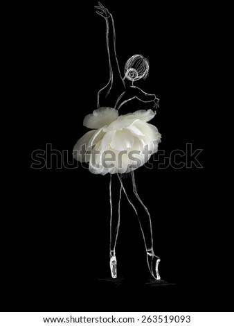 Illustration of graceful ballet dancer in white flower tutu skirt on black background.  - stock photo