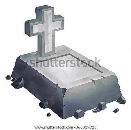 illustration of grave and cross made of stone - stock photo