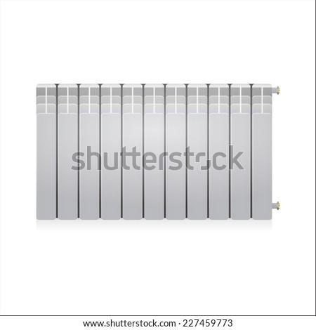 Illustration of gray radiator. Single gray water radiator. Isolated illustration on white background. - stock photo