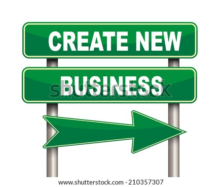Illustration of green arrow and road sign of create new business concept - stock photo