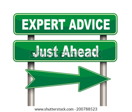 Illustration of green arrow and road sign of expert advice - stock photo