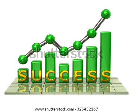Illustration of green business graph and chart of success - stock photo